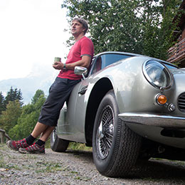 Kai Barnett in the Alps with his personal Aston Martin restoration project